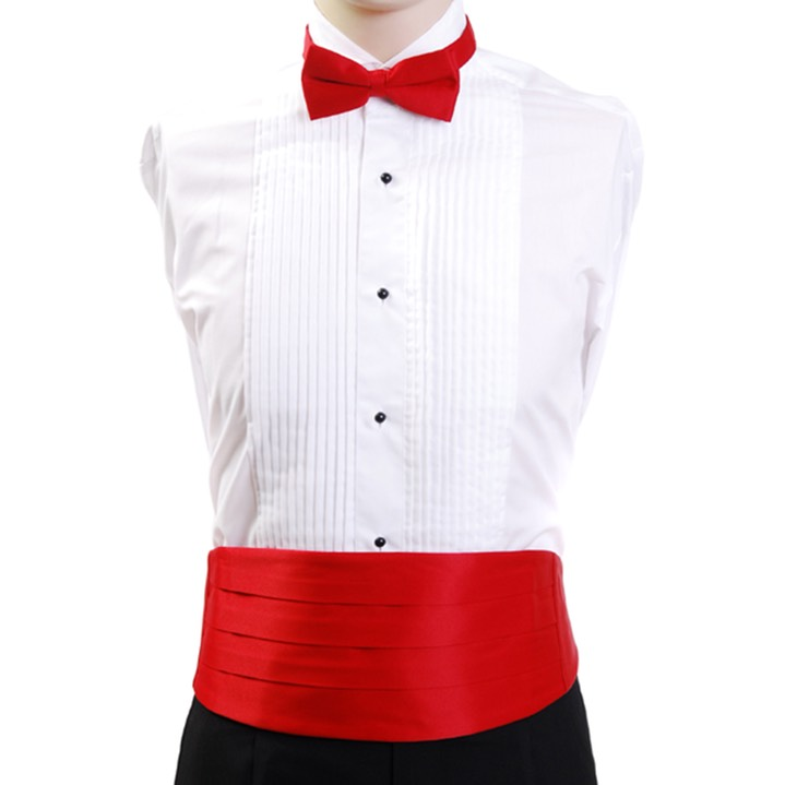SY-CBT-130101-Red-Men'sPolySatinBowTieandCummerbundSets--Retail$14.98
