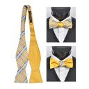 SY-FRBS-104-4-Yellow-36.5x2.5-100%SilkPlaidReversableFreestyleBowTies-Retail$16.32